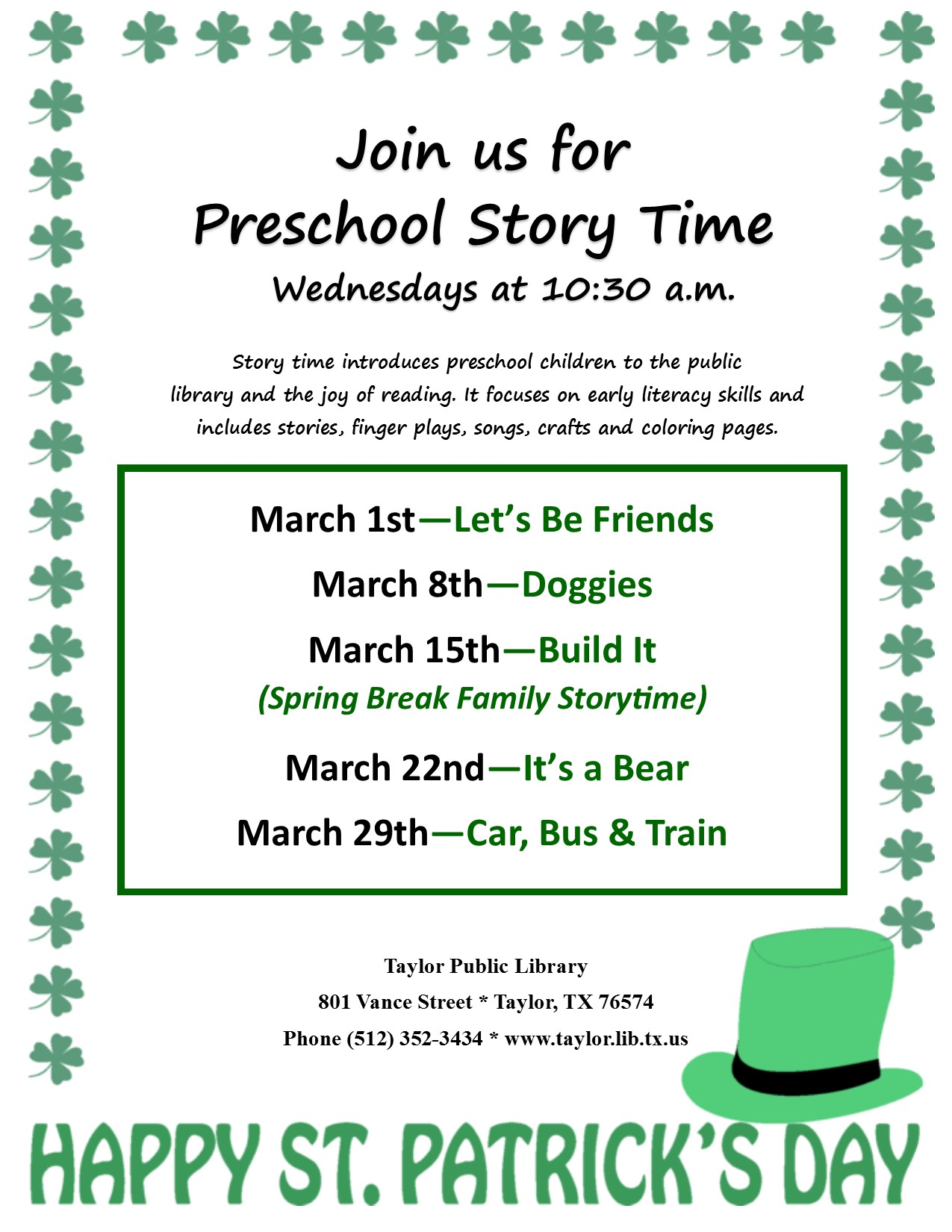 March Storytimt flyer