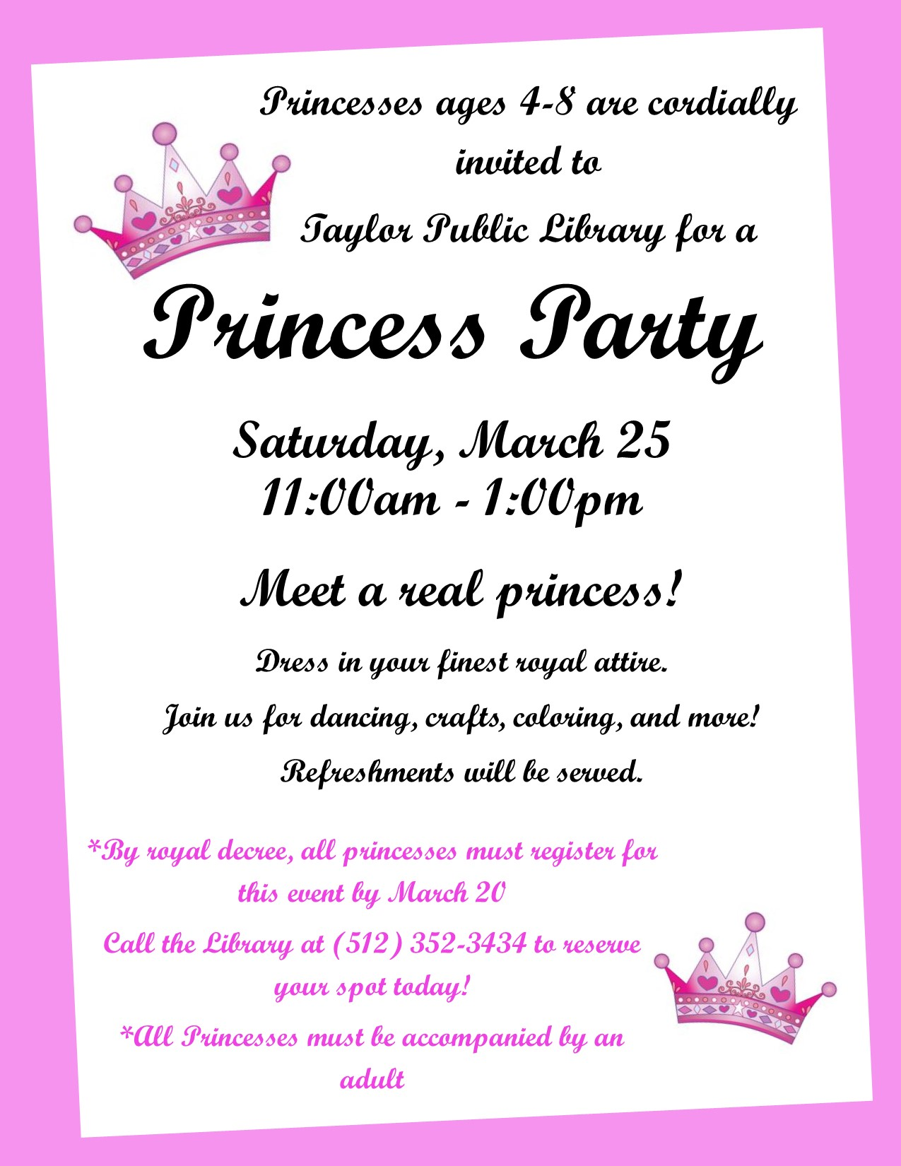 Princess party poster
