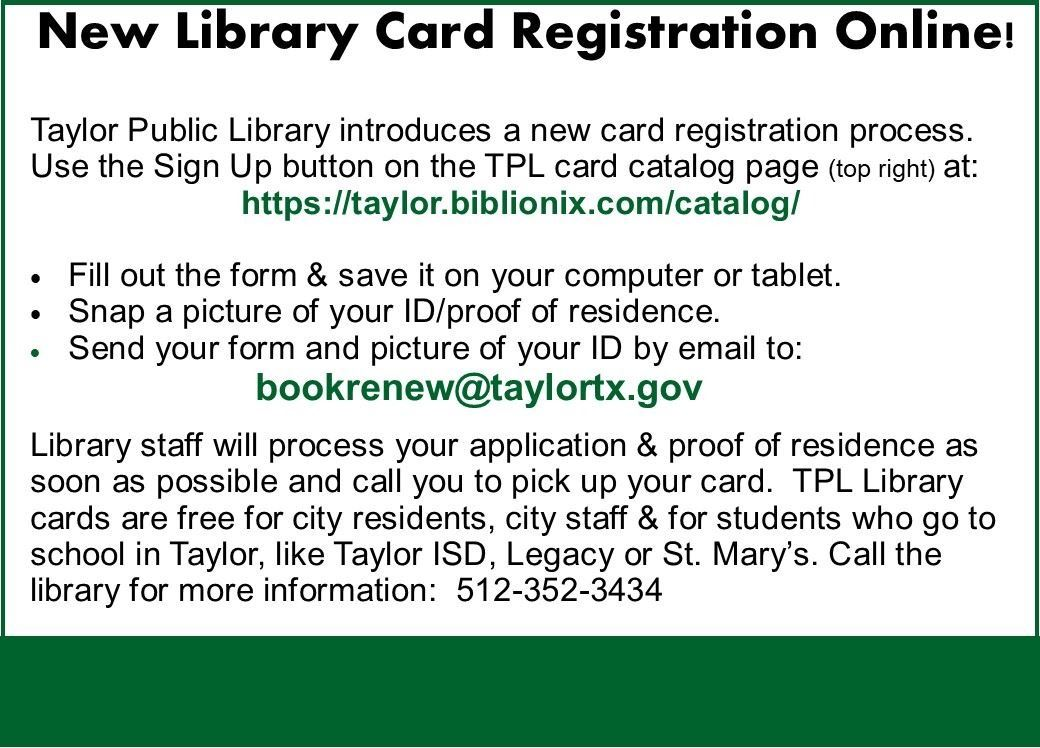 New Library Card Registration Aug 2020