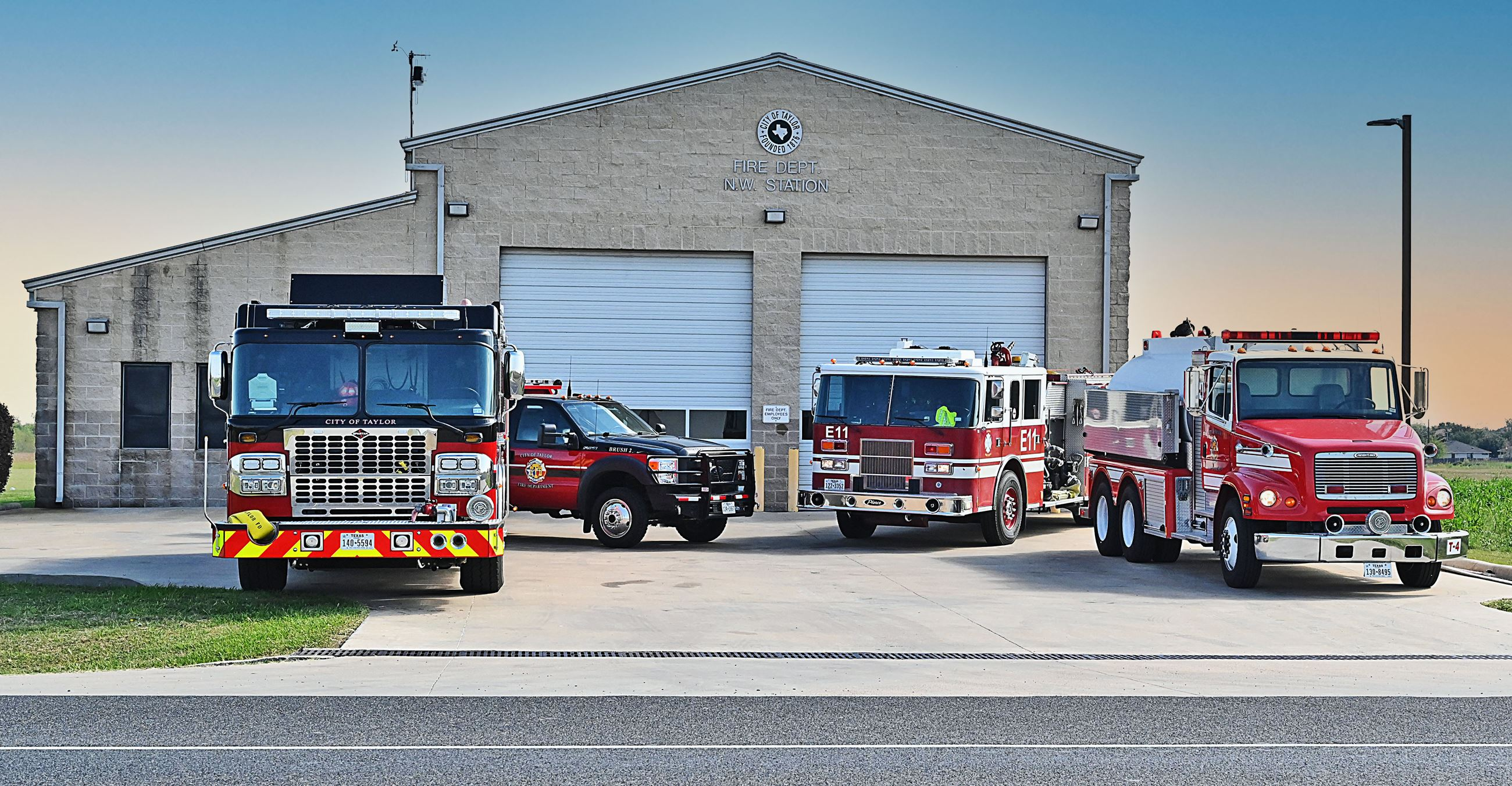 Taylor Fire Department Station 2 with trucks lined up.