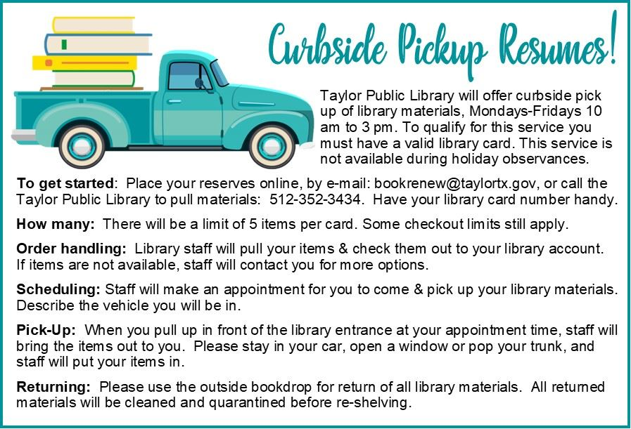 Curbside Pickup Resumes Nov 13 2020 Graphic