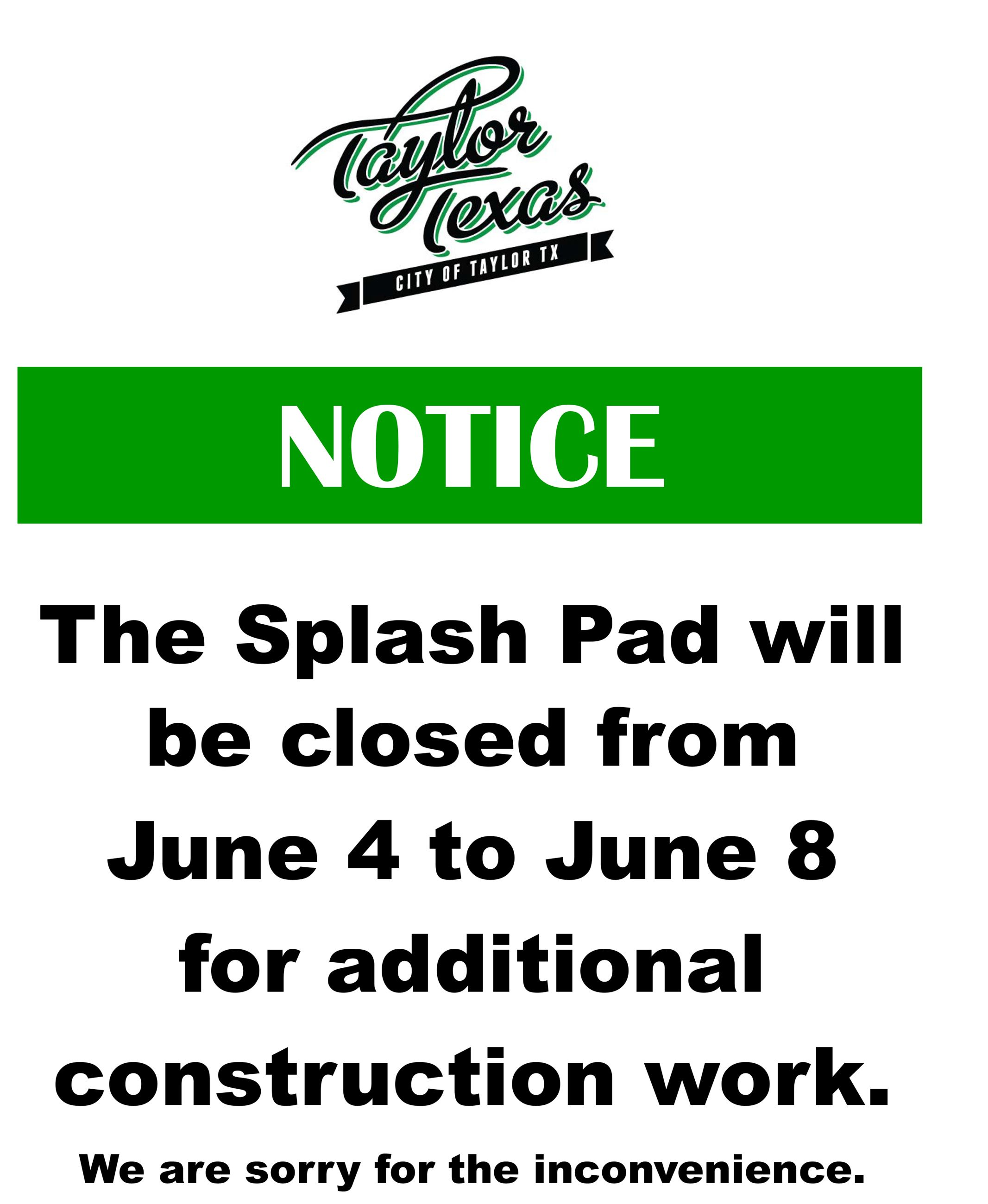 Splash pad closure June 2018