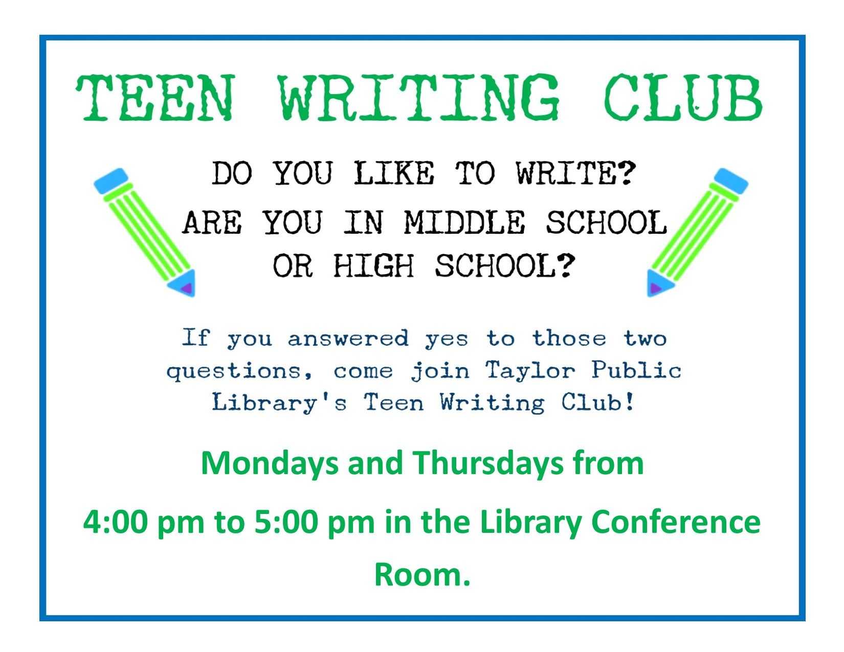 Teen Writing Club Sign Aug 2018