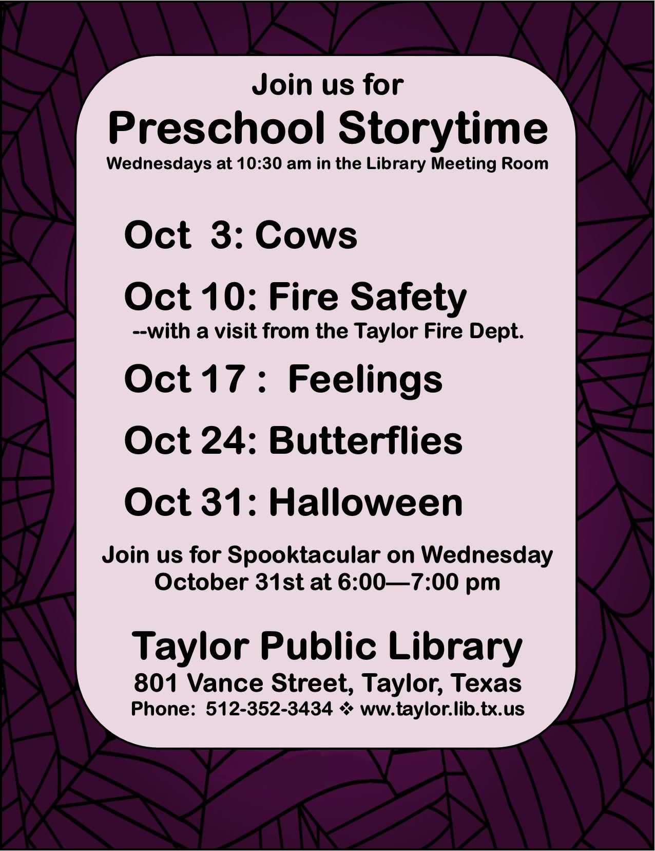 October 2018 Storytime Sign