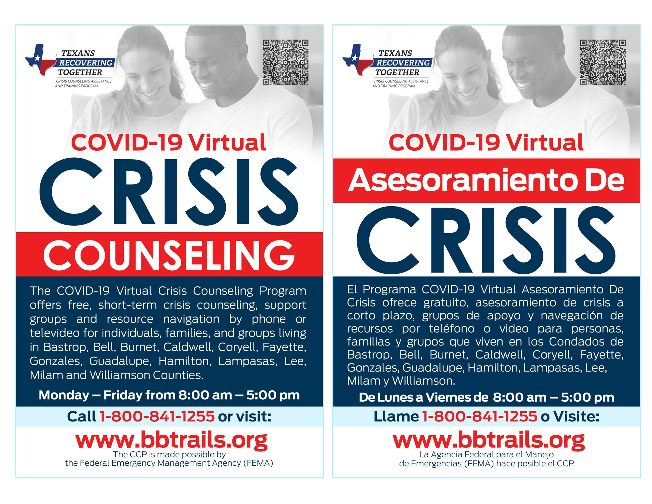 Bluebonnet Trails crisis counseling flyer in English and Spanish